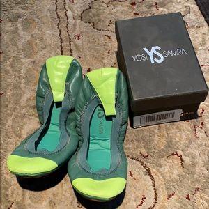 Yosi Samra ballet flats Kelly/Lime Size 8